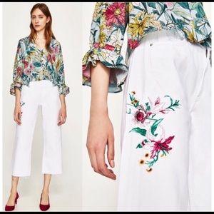 Zara embroidered Wide Leg White Denim Crop 34